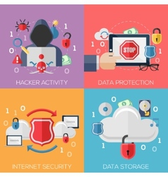 Flat design concepts for internet security vector