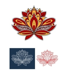 Paisley flower with ethnic persian ornaments vector