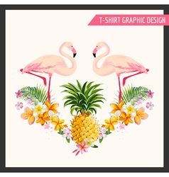 T-shirt tropical flamingo graphic design vector