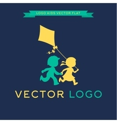 Logo children run and play with a kite vector