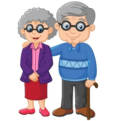 Cartoon elderly couple isolated on white backg vector