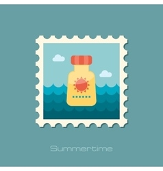 Sunscreen flat stamp vector