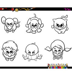 Kids and pets coloring book vector