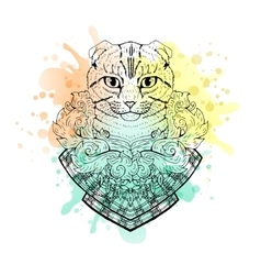 Black and white animal cat head watercolor vector