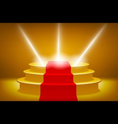 Gold illuminated stage podium for award ceremony vector