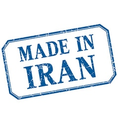 Iran - made in blue vintage isolated label vector