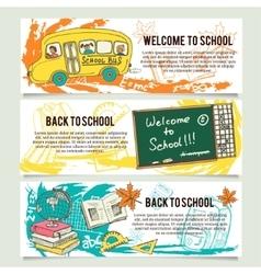 Back to school banners or website header set vector image