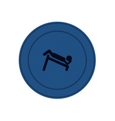 Blue circular frame with abdominal training on vector