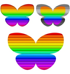 Butterfly color set vector