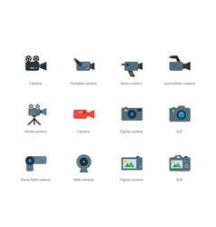 Camera color icons on white background vector image