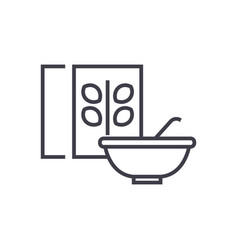 Cerealporridge bowl and box line icon vector