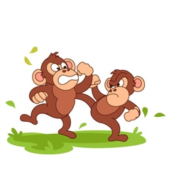 Chimpanzee fight cartoon vector