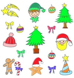 Cute color christmas set doodle element vector image
