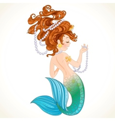 Cute little mermaid with pearl vector image vector image