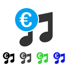 Euro music notes flat icon vector