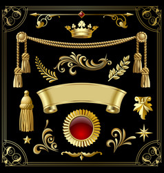 Gold vintage decorative design elements isolated vector