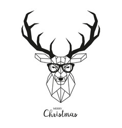 Hipster deer with glasses vector