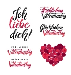 I love you happy valentines day german black and vector