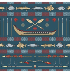 Indian fishing - seamless pattern vector image