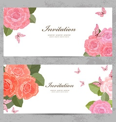 invitation cards with a blossom roses for your vector image