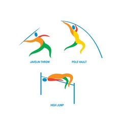 Javelin throw pole vault high jump icon vector