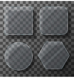 Modern transparent glass plates set vector