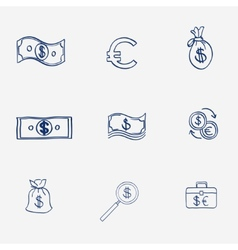 Money icons set doodle sketch hand draw finanse vector