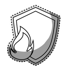 monochrome contour sticker of shield with flame vector image vector image