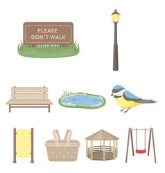 park set icons in cartoon style big collection of vector image vector image