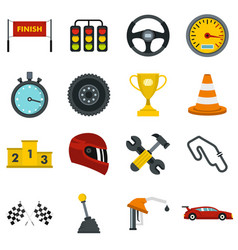 Racing speed set flat icons vector