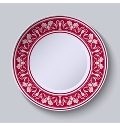 Red ornament with with flowers at the edge of the vector