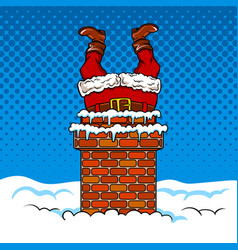 santa claus stuck in the chimney comic book vector image