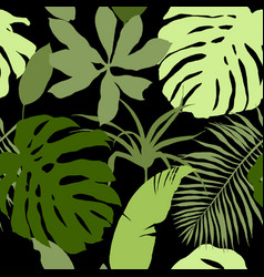 Seamless pattern green tropical leaves vector