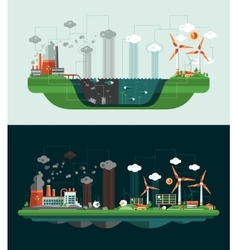 Set of modern flat design conceptual ecological vector image vector image