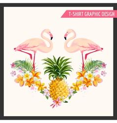 T-shirt tropical flamingo graphic design vector
