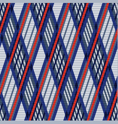 Tartan seamless rhombus texture in blue red and vector