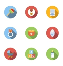 Things for baby icons set flat style vector image vector image