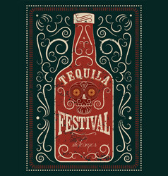 Typographic retro grunge tequila festival poster vector