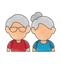 Upperbody cute old couple vector