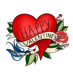 Valentines Day card Old school tattoo style vector image