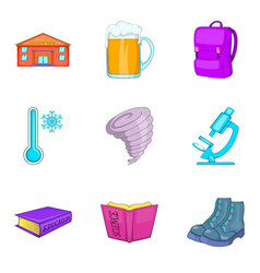 warming icons set cartoon style vector image vector image