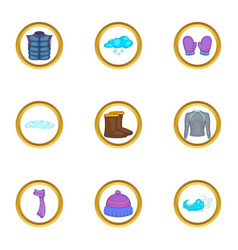 Winter clothing icons set cartoon style vector