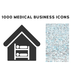 Hostel icon with 1000 medical business symbols vector