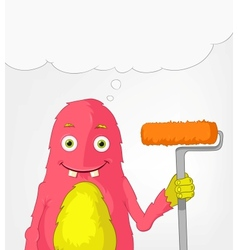 Funny monster painter vector