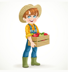 Cute boy farmer in jeans overalls and rubber boots vector image