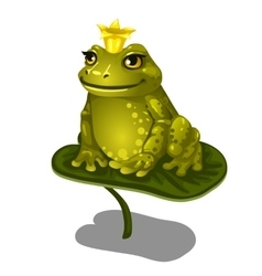 Green frog with gold crown sitting on large leaf vector