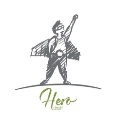 Hand drawn man in hero man clothing with lettering vector image