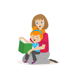 mother daughter reading a book the process of vector image