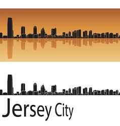 Jersey city skyline in orange background vector