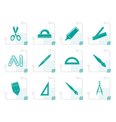 Stylized school and office tools icons vector